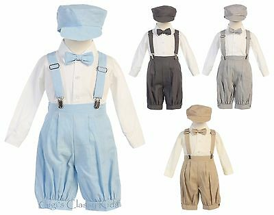 Baby Toddler Boys Khaki Knickers Vintage Suit Outfit Set Easter Wedding Party