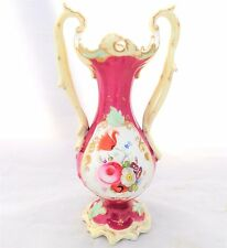 Antique English Porcelain Vase Painted Flowers Entwined Crabstock Handles c 1830