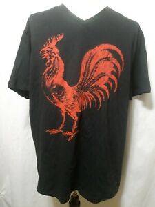 Annex-T-Shirt-Big-Red-Rooster-Graphic-Black-Mens-Size-XL-EUC