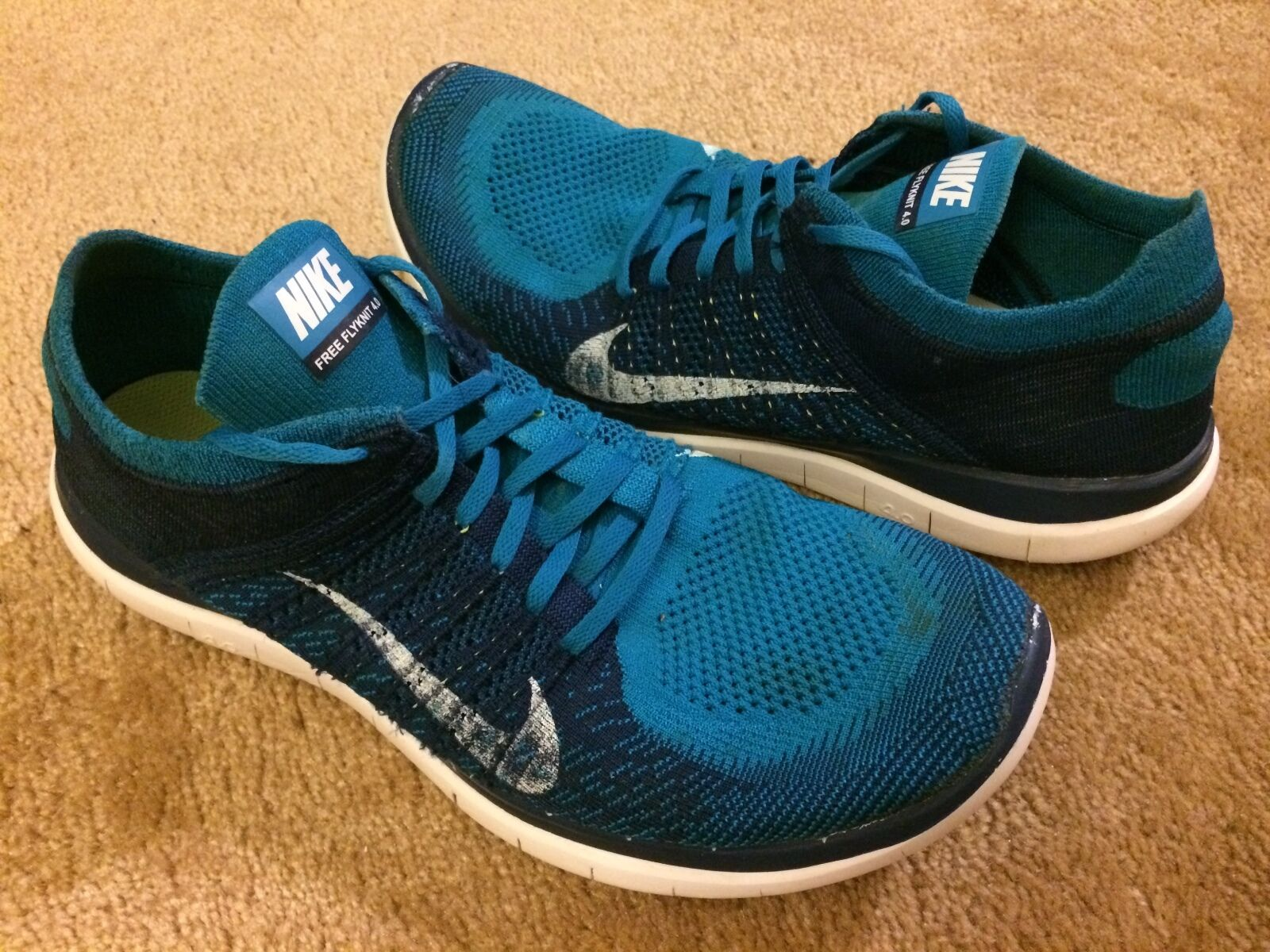 1ac199a2142 Men's Nike Nike Nike Free 4.0 Flyknit Running Shoes Turquoise Blue Size 14  (631053-