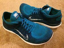 Men's Nike Free Flyknit 4.0 Running Shoe Turquoise & White 631053-401 sz 10.5