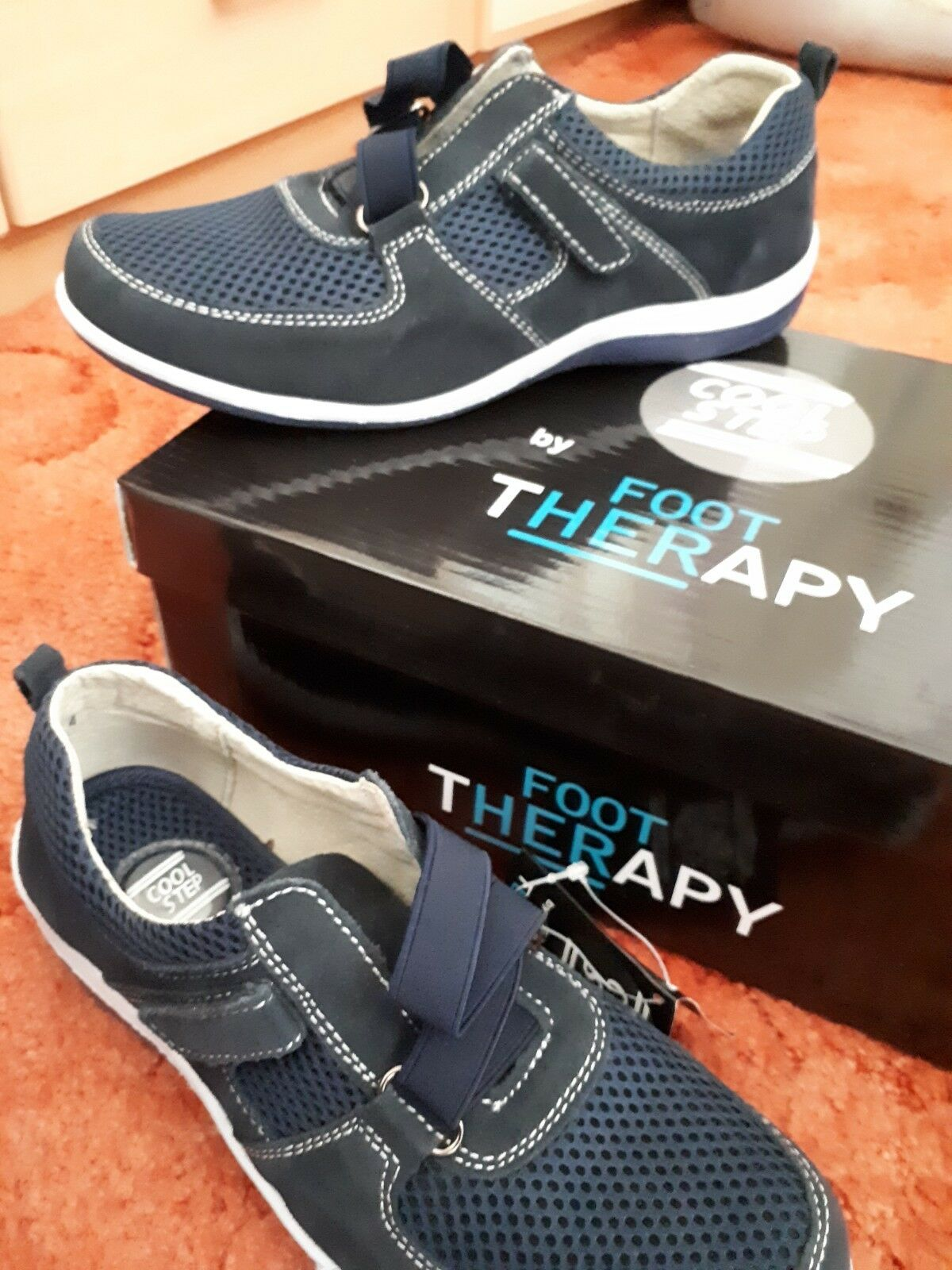 Foot Therapy Ladies Navy Casual Suede Leather shoes Size UK 4 EU 37. Velcro