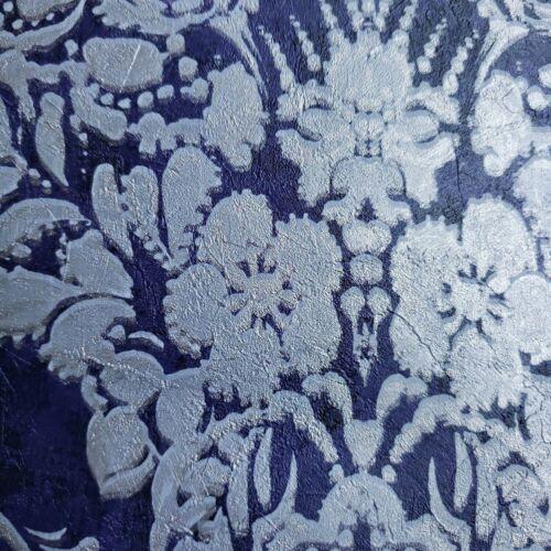 Textured Wallpaper Blue Black Silver Metallic vintage rust Diamond Floral damask