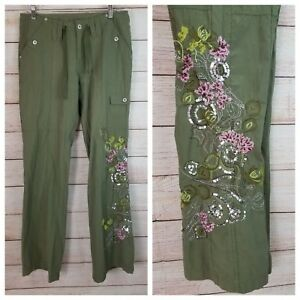Sugar-Doll-Sz-9-Army-Green-Pants-Embroidered-Sequin-Embellished-16-034-Waist-32-034-Ins