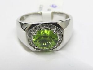 2103679f8 6423S 1.5ct. Peridot Sunburst Cut Oval Ring with CZ- 925 Sterling ...