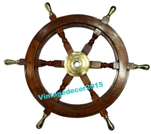 """Details about  /12/"""" Nautical Collectible Wooden Ship Steering Wheel Brass Brown Wall Decor"""