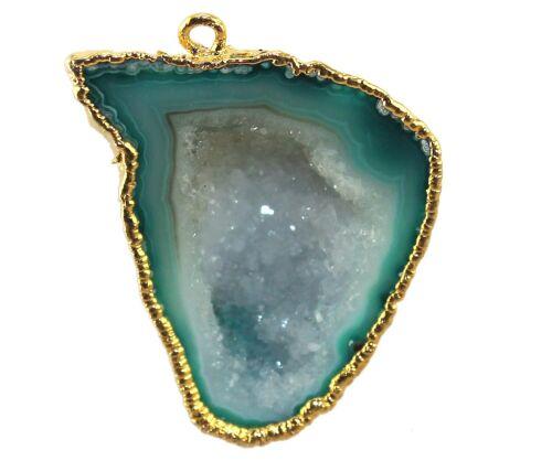 Blue Green Natural Geode Slice Druzy Gold Plated Fashion Designer Connector DIY