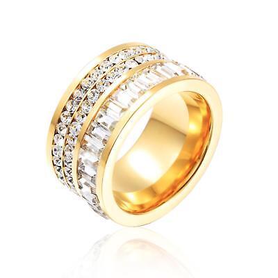 Ring Zirkonia weiß 999er Gold 24 Karat vergoldet gelbgold 53 56 Damen R2551