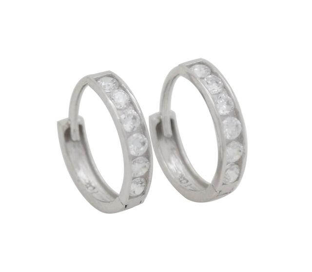 10K Solid White Gold Cubic Zirconia Huggie Hoop Earrings [6 Sizes Available]