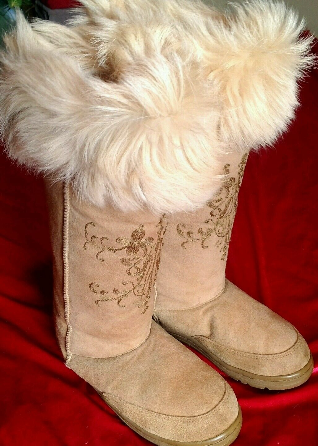 J Crew Damenschuhe  Tan Suede Leder EmbroideROT Faux Fur Tall Stiefel 9