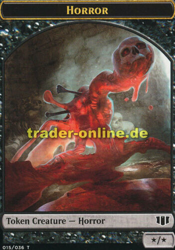 2x Token Horror Spielstein Schrecken Commander 2014 Magic