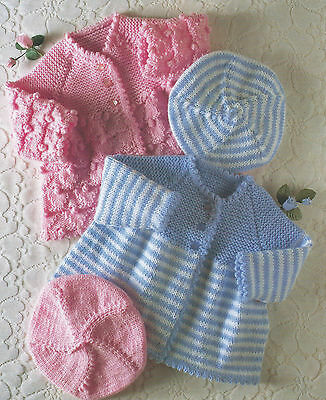 "Baby Cardigan Beret 14-20"" 4ply & DK Knitting Pattern Premature sizes 292"