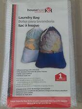 HOUSEHOLD ESSENTIALS 120-4 MESH NYLON LARGE CAPACITY LAUNDRY BAG WHITE CORD LOCK