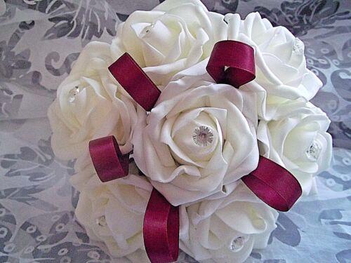 Ivory bridesmaids rose wedding posy//bouquet diamantes+ribbon  14 colours .