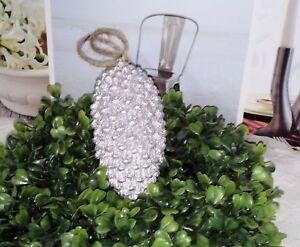 pina-de-abeto-Navidad-Decoracion-para-arbol-plata-Shabby-Vintage-Casa-Campo