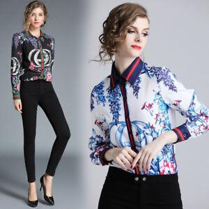 2019-Spring-Summer-Fall-Runway-Floral-Print-Collar-OL-Casual-Women-Shirt-Blouse