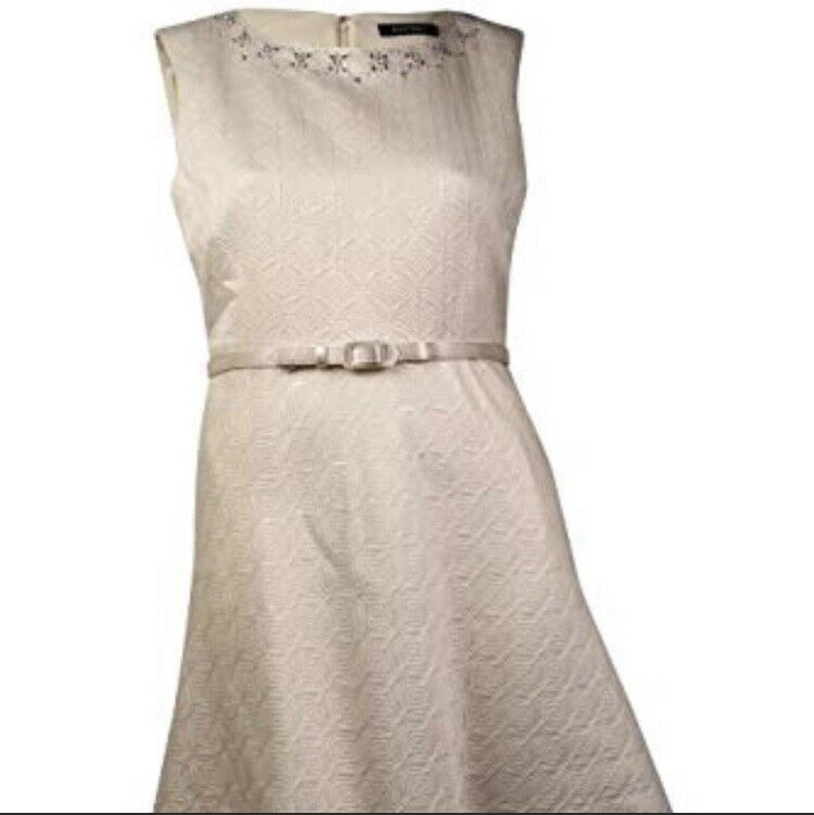 NWT Ellen Tracy Ivory Sleeveless Embellished Jacquard Belted A-Line Dress 2