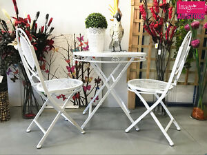 Image Is Loading Outdoor Garden Tea Table Metal White Foldable Chair