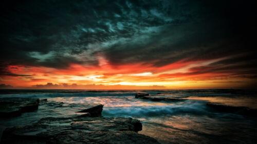 poster print  Vintage dark stormy ocean sunrise Australia Fits A0 Glass Frame
