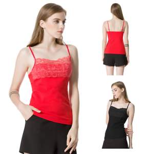 Womens-Adjustable-Spaghetti-Strap-Basic-Tank-Top-Ladies-Lace-Trim-Comi-Tee-Shirt