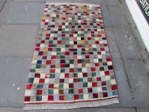 Old-Traditional-Hand-Made-Persian-Rugs-Oriental-Brown-Wool-Gabbeh-Rug-170x103cm