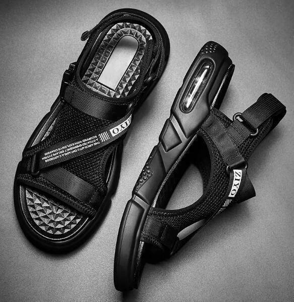 Para hombre de malla transpirable suave Puntera Abierta Charol resbalón en Casual Zapatos Sandalias De Playa