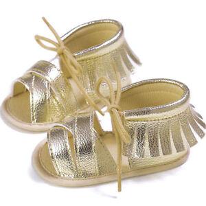 NEW Baby Girl Gold Fringe Sandals Crib