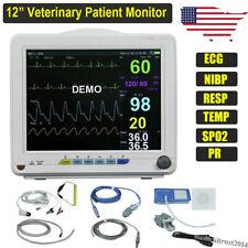 Portable 12 Pet Veterinary Patient Monitor Machine Nibp Spo2 Ecg Temp Resp Pr