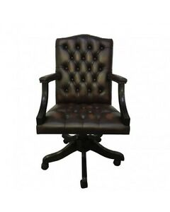Image Is Loading Chesterfield Leather Gainsborough Antique Brown Swivel Office Chair