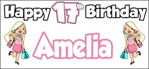 Party Decorations Glamour Girl 17th Birthday Banner x2 Personalised ANY NAME