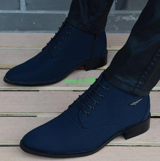 Mens Casual high top pointy toe chukka dress shoes ankle boots hidden heel shoes