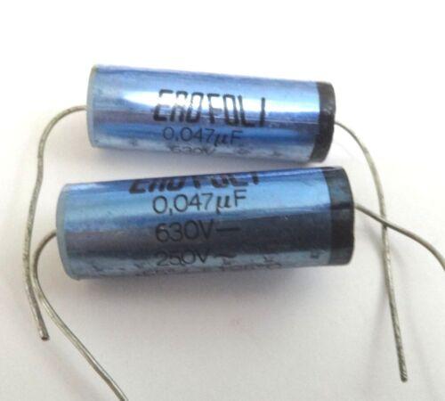 2 X Vintage EROFOL1 0.047uf 630v Fil Axial Condensateur 47nf