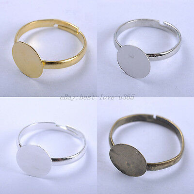 FREE SHIP 30pcs SILVER, BRONZE & GOLD PLATED Adjustable WIDE RING BLANKS