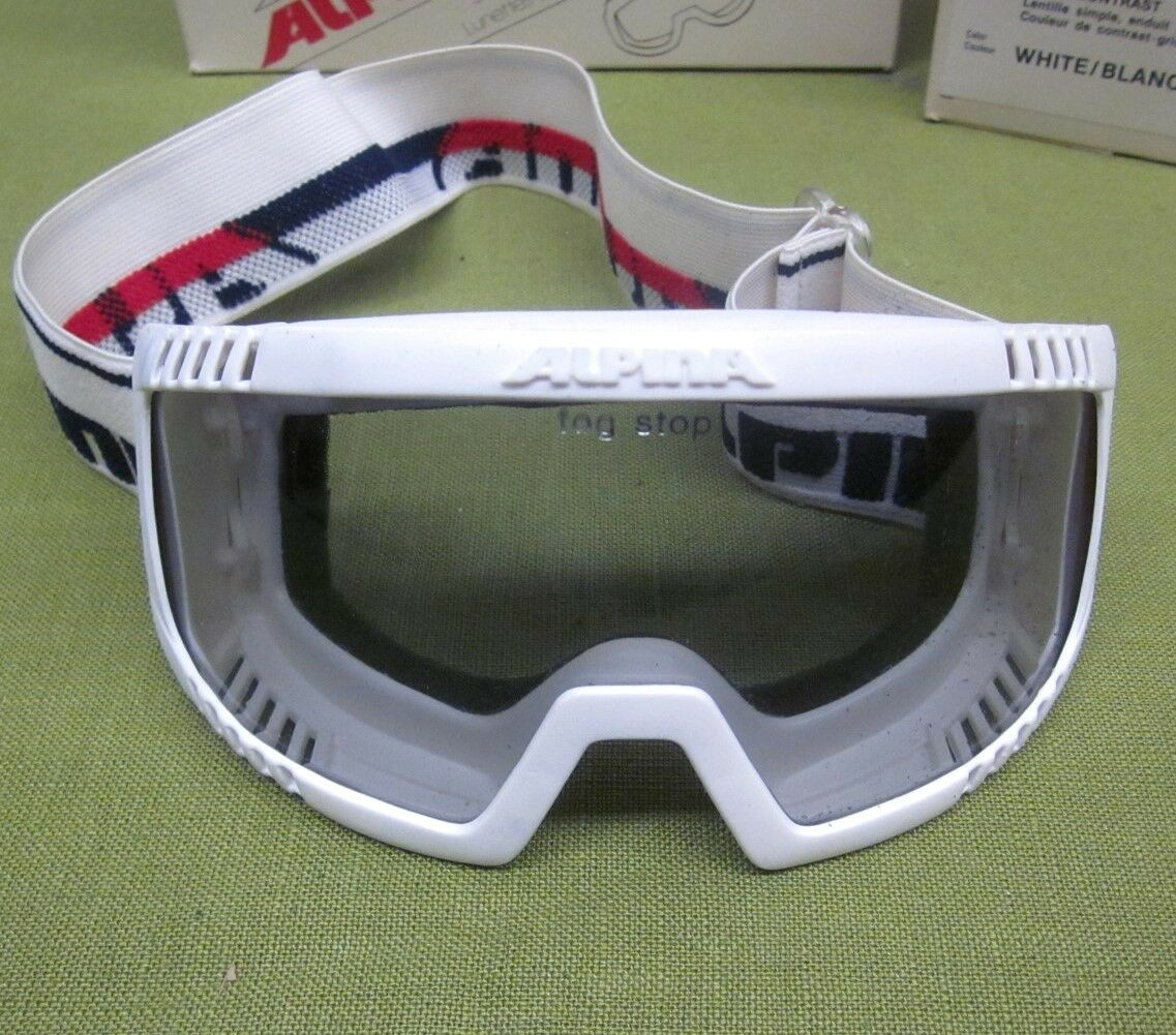 ALPINA white Scout Skiing Goggles w  box 1980s single lens Fog Stoppers eyewear