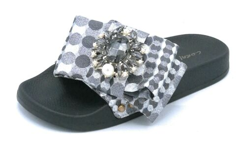 Coral Blue E219.64 Sandal Black Fabric Accessory Mini Pearls Copper Black