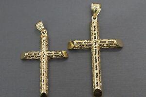 10k White Gold Hollow Cross Pendant
