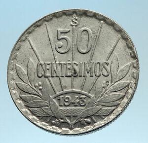 1943-URUGUAY-Founding-Father-Hero-ARTIGAS-Silver-Vintage-WWII-Time-Coin-i77515