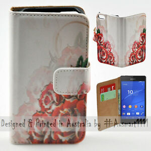 Wallet-Phone-Case-Flip-Cover-for-Sony-Ericsson-Xperia-Z3-Roses-Illustration