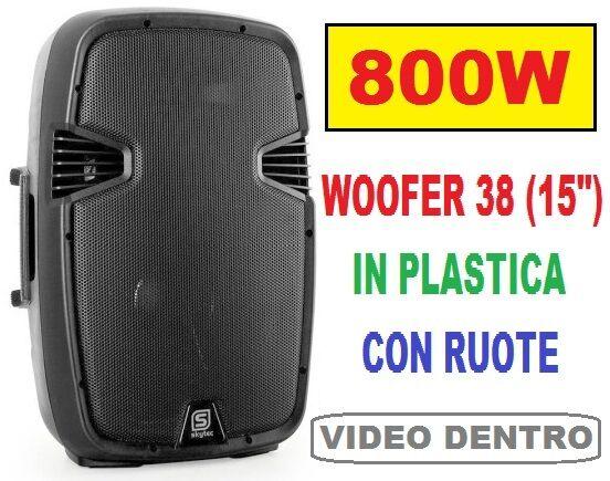 CASSA ATTIVA AMPLIFICATA MONITOR SPIA SATELLITE DIFFUSORE 800W woofer 15   NEW