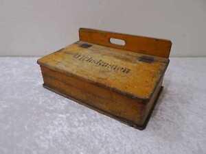 Antiguo-Madera-Wichskasten-Caja-de-Limpieza-de-Zapatos-Vintage