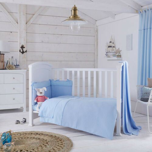 Izziwotnot Powder Blue Gift 5 Piece Quilt Bedding Bale Cot//Cot Bed