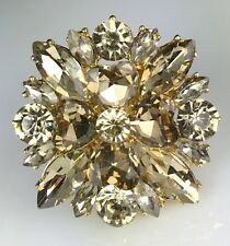 """Big & Showy! 1 3/4"""" Gold Crystal Ring, Drag Queen, Stage, Stretch, Evening"""