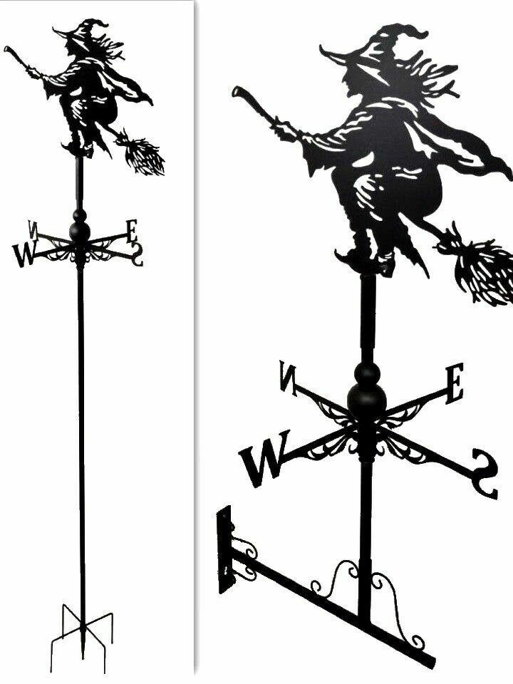 Wall and Floor standing mounted Weathervanes Steel witch on broom Weathervane