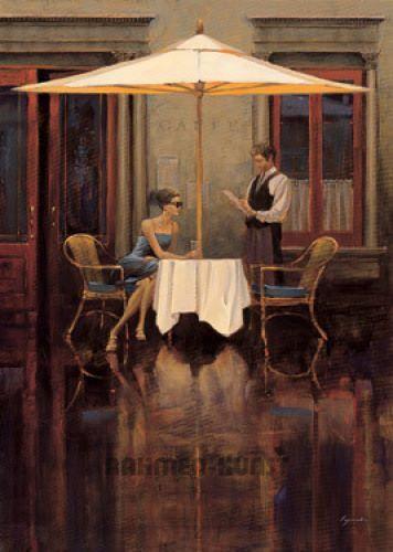 Brent Lynch  Aperitif Vignette Fertig-Bild 50x70 Wandbild Paar Romantik Idylle
