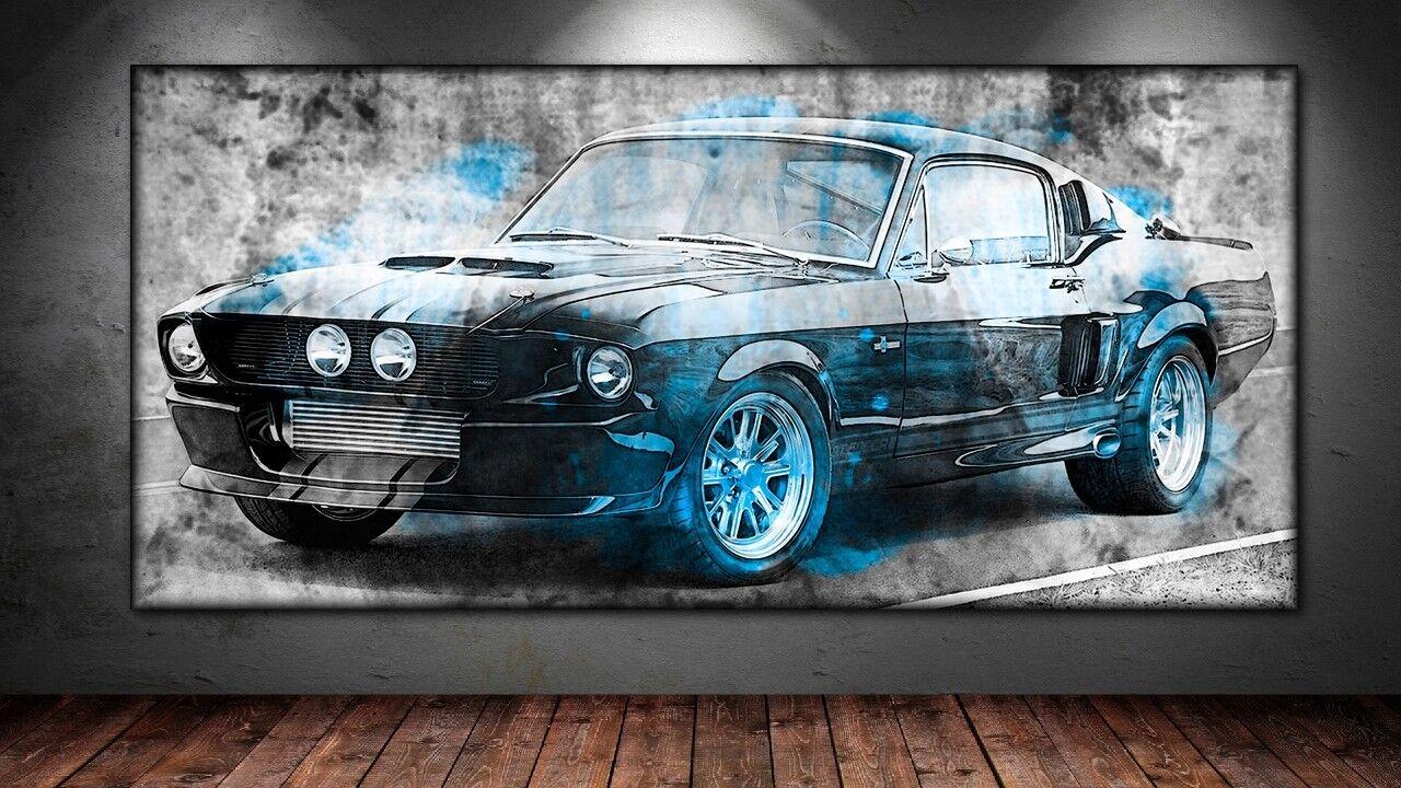 LEINWAND BILD ER XXL POP Kunst FORD TORINO GT ABSTRAKT GRAFFITI WAND POSTER 150x70
