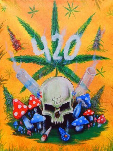 MARIJUANA MUSHROOMS EDC420 4:20 SKULL FINE ART PRINT POSTER 13x19 WEED