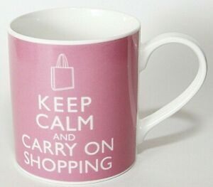 Kent-Pottery-Cup-Mug-Keep-Calm-Carry-On-Shopping-Porcelain-Pink-White-NWT