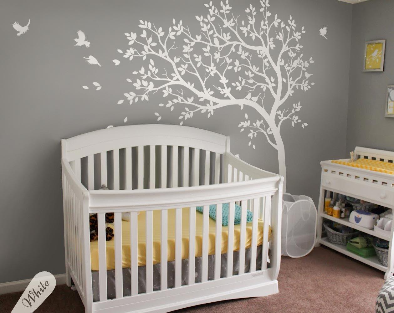 Baby Nursery White Tree Wall Decal