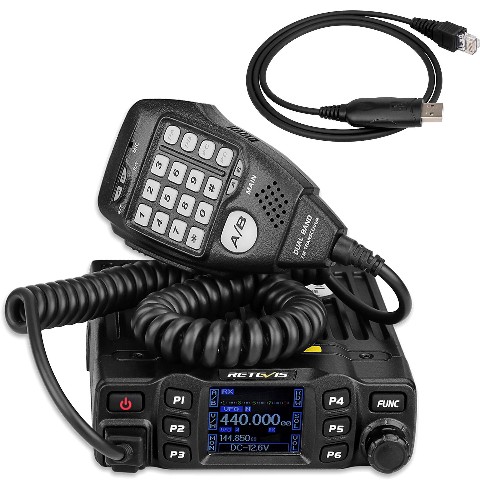 Hot RT95 Dual Band VHF144-146MHz UHF430-440MHz 200CH Mobile Car Radio+USB Cable