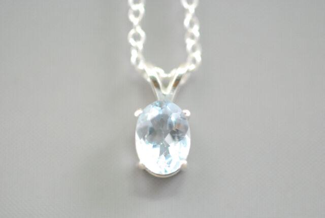 "Vtg NOS Sterling Silver 925 Sky Blue Topaz 1.5ct Oval Pendant Necklace 18"" Chain"